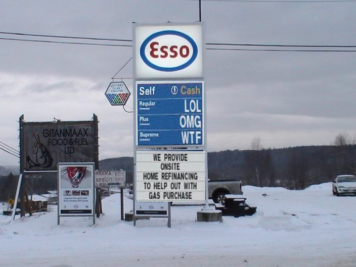 The gas station on the reservation in Hazelton, BC.